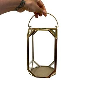 Accents - Set of 2 - Gold and Glass Lantern Vases Decor